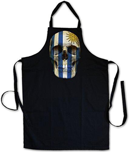 Urban Backwoods Classic Uruguay Skull Flag Delantal De La Cocina Cocina Parrilla