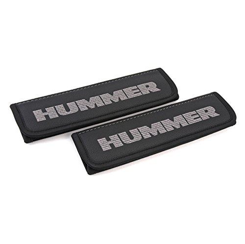 Car Interior Seat Belt Covers for Adults Black Shoulder Pads Seatbelt Cover pad with Embroidered Silver Emblem Accessories Compatible for Hummer H2 H3 Great idea for a Gift to The Driver! 2 pcs