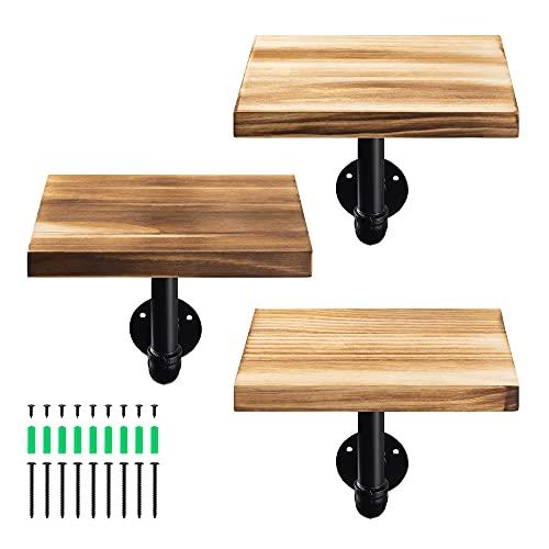 Navaris Set de 3X balda de Madera - Estanterías flotantes de Pared para Adornos - Repisas Modernas para Cocina Dormitorio baño - Marrón Envejecido