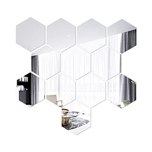 Moniut Espejo Pared Flexible 20x17x10cm,12pcs Forma Hexagonales Espejos de Pared ,Espejos Decorativos Pegatinas Espejo Pared para la Superficie de la Decoración de la Oficina en el Hogar (Plata)