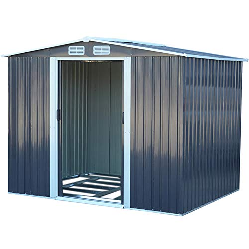 FIDOOVIVIA Outdoor Metal Garden Storage Shed Box Waterproof Anti-corrosion with 2 Sliding Doors, 4 Vents and Floor Foundation(8Ft X 8Ft, Grey)