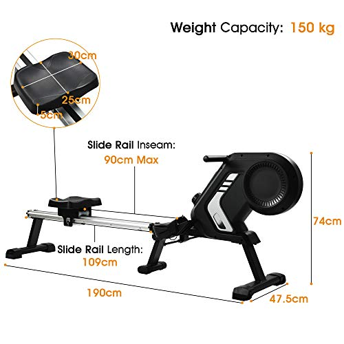 Merax magnetisches Rudergerät mit 8 einstellbaren Stufen, LCD-Monitor, 150 kg Maximalgewicht, Cardio-Fitnessgerät für den Heimgebrauch, faltbar - 5