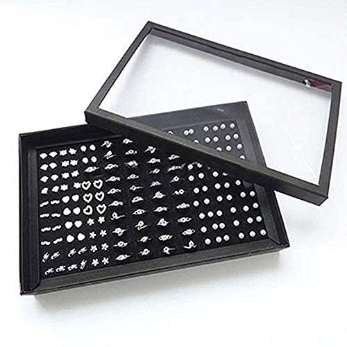 Schmuckschatulle-Slots Ring Aufbewahrungsbox mit transparentem Deckel ~ Ohrringhalter Vitrine ~ Schmuckablage Organizer