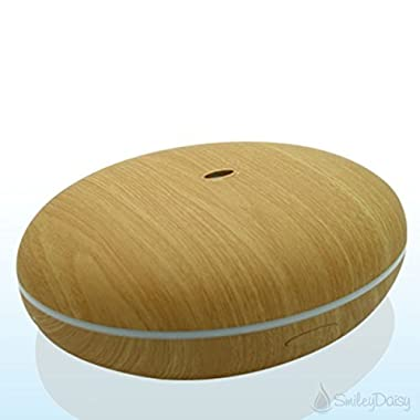 Smiley Daisy Aromatherapy Essential Oil Diffuser, 350ml, Wood Grain Ultrasonic Cool Mist Whisper-Quiet Humidifier with Color LED Lights Changing, Two Mist Settings, Waterless Auto Shut-Off