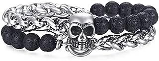 Vesna 8mm Men's Bracelet Stainless Steel Link Chain Skull Charm Bracelet Male Wristband Black Lava Beaded Bracelet Gifts for Men DB186 (DB183)
