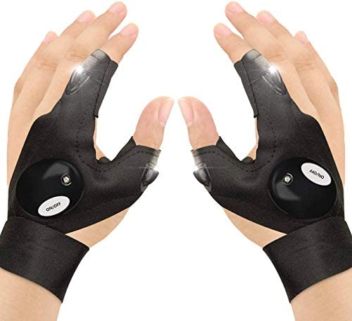 Number one Outdoor Fishing Gloves 2 LED Flashlight Gloves Fingerless Night Lighting Gloves Magic product image