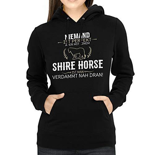 Fashionalarm Damen Kapuzen Pullover - Niemand ist perfekt - Shire Horse   Fun Lustig Hoodie Spruch Geschenk-Idee Pferd Reiten Reiterin Reitsport, Schwarz L
