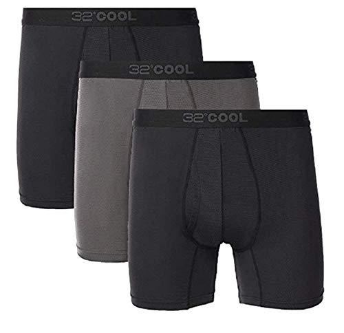 32 DEGREES Mens 3 Pack Active Mesh Boxer Brief (Black (3), L (36-38))