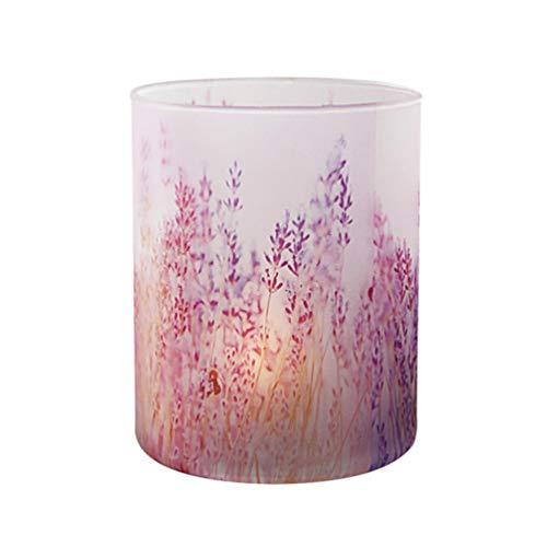Mobestech Votivkerzenhalter Lavendel Muster Kerzenständer Glas Teelichthalter Deko für Party Zuhause Hochzeit Büro ohne Kerze