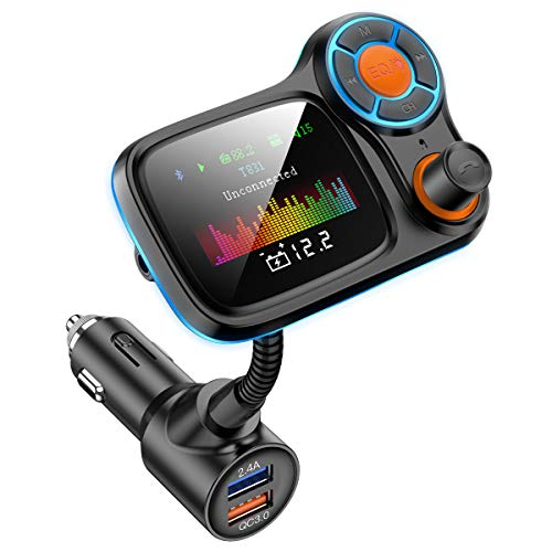 Upgraded Bluetooth 5.0 FM Transmitter for Car, QC3.0 Qucik Charger with EQ Mode, 3 USB Ports, 4 Music Playing, Hands-Free Calls, TF Card, AUX Output Wireless FM Radio Adapter