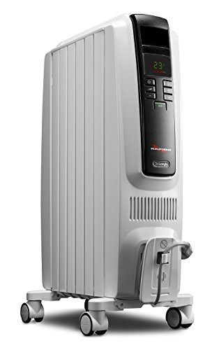 De'Longhi Oil-Filled Radiator Space Heater, Quiet 1500W, Adjustable Thermostat Timer, Energy Saving, Safety Features, Nice for Home with Pets/Kids, Light Gray