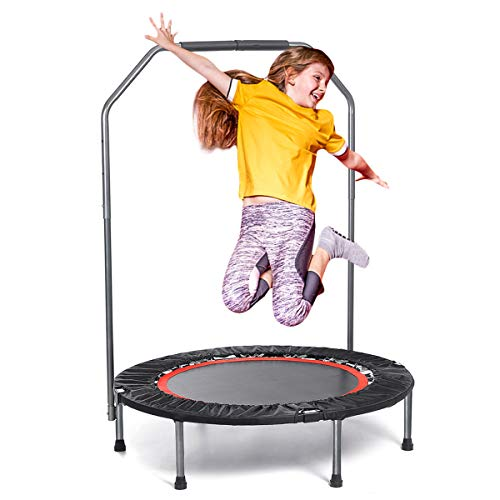 """TOOCA 40"""" Mini Trampoline, Foldable Rebounder Trampoline, Cardio Training Fitness Trampoline with Adjustable Foam Handle, Exercise Trampoline for Adults Kids Indoor/Garden, Workout Max Load 330 lbs"""