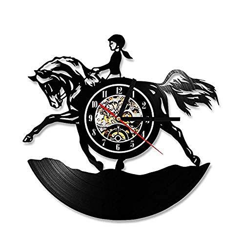 ZZNN Orologio da Parete Silenzioso Decorazione Antica della Stanza dell'orologio dell'orologio di Parete di Vinyl Record del Cavaliere della Donna 3D jnsd2221