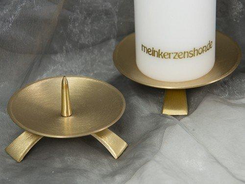 Kerzenteller Kerzenständer Kerzenhalter Hochzeitskerze Taufkerze gold 16725, Größe:9.5 cm