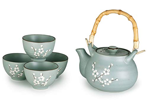 Hinomaru Collection Kagetsu Glazed Porcelain Japanese Sakura Cherry Blossom Tea Set 24 fl oz Teapot with Rattan Handle and Four Tea Cups (Sage Green)