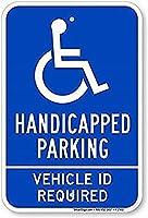 障害者用駐車場あり。 車両IDが必要な安全標識ティンメタル標識道路道路標識標識屋外装飾注意標識