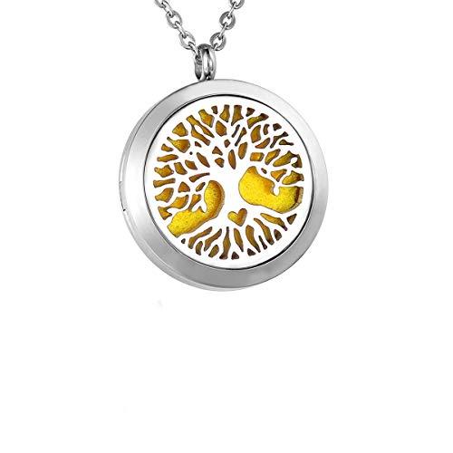 Housweety Halskette, Anhänger, verströmt Parfum oder ätherische Öle, Motiv: Baum des Lebens, personalisierbar, Style 24, 30mm