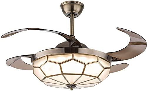 JJSFJH 42'Vintage Luz retráctil de ventilador de techo, estilo Tiffany Style Dimmable Araña Ventilador con control remoto Iluminación de 3 colores 3-Velocidad para sala de estar de dormitorio (oro)