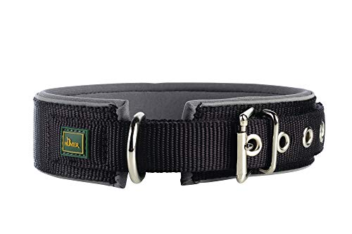 HUNTER NEOPREN REFLECT Hundehalsband, Nylon, Neopren gepolstert, reflektierend, 65 (L-XL), schwarz/grau