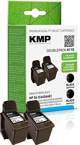 KMP Tintenpatrone Kompatibel mit HP 56 (C6656AE) 2er-Set Doppelpack Schwarz Tintenpatrone HP Deskjet, Officejet, Photosmart, PSC
