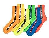 STYLEGAGA Women Daily Stripe Casual Ankle Socks (6Pair - Neon Side Line)