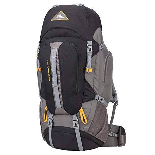 High Sierra Pathway Internal Frame Hiking Backpack, Black/Slate/Gold, 90L