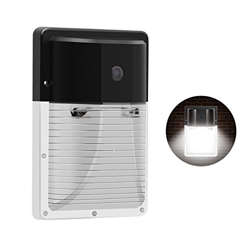 CINOTON 13W LED Wall Pack Light 1600lm,(Dusk-to-Dawn Photocell,Waterproof IP65), 100-277Vac,100-200W MH/HPS Replacement,Outdoor Security Lighting 5000K (1Pack-with Sensor)