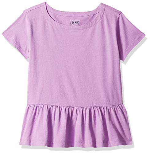Amazon/ J. Crew Brand- LOOK by Crewcuts Girls' Short Sleeve Peplum tee, Orchid, Medium (8)