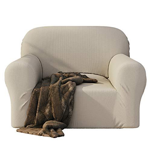 Dreamzie - Sofabezug 1 Sitzer Elastische - Beige - Oeko-TEX® - Sofa Überzug Dehnbarer aus Recycelter Baumwolle - Made in Europe