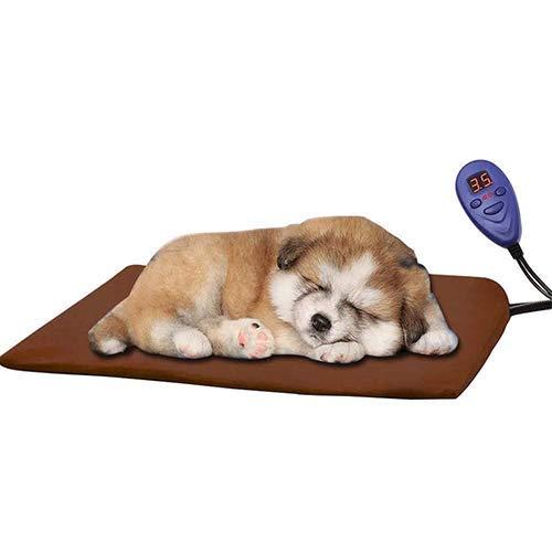 Qiu's home Cojín de calefacción eléctrica para mascotas,Almohadilla de calentamiento para Perros y Gatos con 7 Niveles de Temperatura Ajustables(30*30cm) (Marrón)
