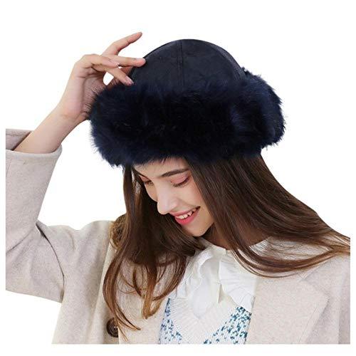 anyuq66qq Wintermütze Winter Kunstpelz Hüte Frauen Winter Mützen Mongolischen Hut Solide Dicke Warme Solide Ohrenschützer Woolen Vintage Hut, Navy, Usa