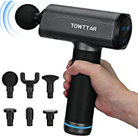 TOWTTAR Professional Portable Deep Tissue Percussion Muscle Massager Gun with 5 Speeds & 6 Massage Attachment Heads