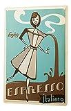 qidushop Divertida decoración de la Cocina Cafetera expreso Italiana Mujeres Dibujos Animados Metal Signos Divertido de Aluminio para Garaje casa Patio Valla Entrada