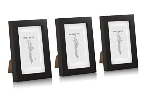Classic by Casa Chic - Fotolijsten van massief hout 10x15 cm - Zwart - Pak van 3 met passe-partout voor 7x11 cm beeld - Glazen voorkant