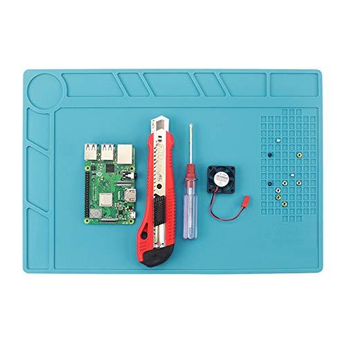 Estación de soldadura de estera de reparación de reloj con aislamiento de silicona de 500 ° C, kit de herramientas de reparación de relojes para soldar, azul, 13,39 * 9,06 * 0.098in