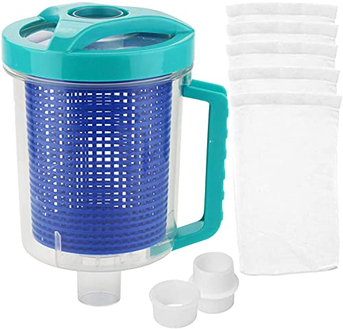 Pool Leaf Canister in-line Leaf Canister Catcher for Pool Spa Swimming Pool Cleaner, with Mesh Basket and Skimmer Socks Fits Suction Manual & Automatic Pool Cleaners