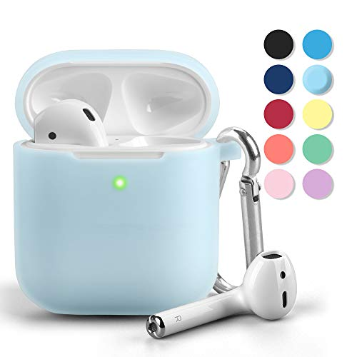 Airpods Case, GMYLE Silicone Protective Shockproof Airpods Earbuds Case Cover Skin with Keychain, Women Girls Cute, Compatible for Apple AirPods 2 & 1 - Light Aqua Blue [Front LED Visible]
