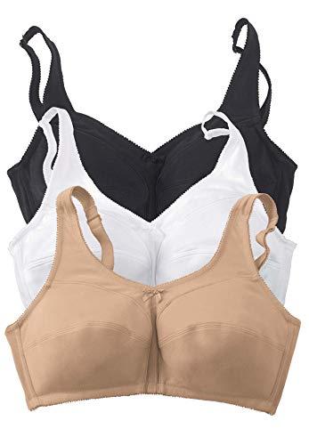 Comfort Choice Women's Plus Size 3-Pack Cotton Wireless Bra - 54 G, Basic Assorted