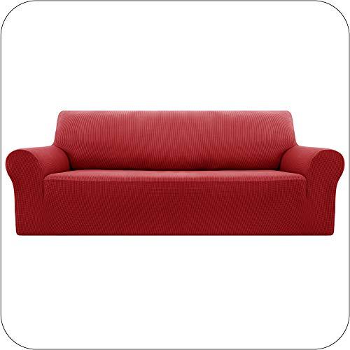 Amazon Brand - Umi Fundas para Sofa Fundas de Sofa Ajustables 4 Plazas Elasticas Anti Gatos Funda Protectora para Salon Rojo
