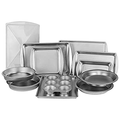 EZ Baker Uncoated, Durable Steel Construction 12-Piece Bakeware Set - Natural Baking Surface that Heats Evenly for Perfect Baking Results, Set Includes all Necessary Pans (Renewed)