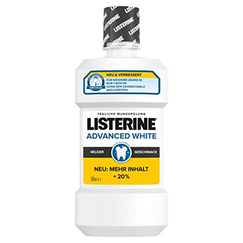 LISTERINE Advanced White milder Geschmack, Antibakterielle Mundspülung, Für weißere Zähne, 600 ml