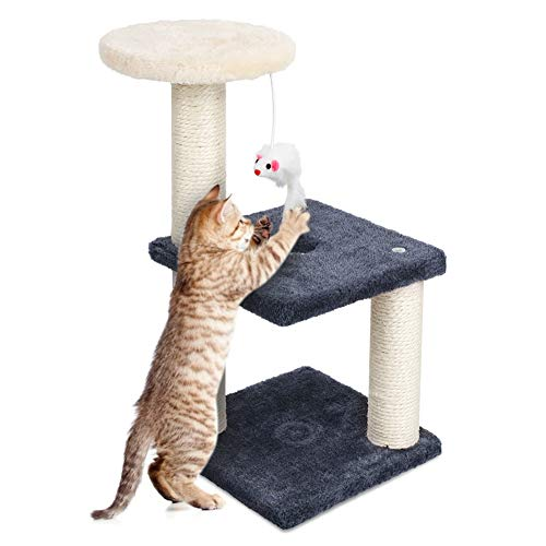 YOUTHINK Arbol para Gatos, 3-Layer Gatos Scratching Arbol Juego Gatos Playground Game Gatos Perro Cama Arbol Pulls Gimnasio Jugar, Relajarse y Dormir - Gris