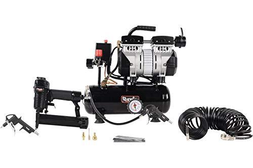 Cevik CA-CS6PROKIT Compresor 6 litros silencioso 3 4hp sin Aceite con clavadora Grapadora neumática, Grapas, 1000 Clavos, Pistola de soplar y Manguera