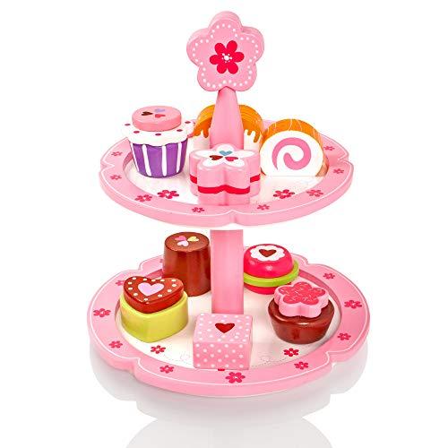Milly & Ted - Soporte para Cupcakes de Madera y Juego de 9 tortas - Juguete para niños de Wood Playfood - Los niños pretenden Jugar Comida