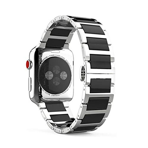 DYH&PW Correa de acero inoxidable compatible con Apple Watch Band 44 mm/40 mm/42 mm/38 mm, correa de cerámica compatible con iWatch Series, negro, 44 mm 42 mm