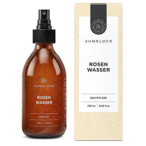 Junglück veganes Bio Rosenwasser | 250 ml in Braunglas | Reinigung und Pflege für Gesicht & Haut durch das destillierte Wasser von Rosen | natürliche & nachhaltige Kosmetik made in Germany