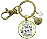 Gutsy Goodness Sisters Keychain God Made Us Sisters Best Friends Faith Pendant Jewelry Heart Charm