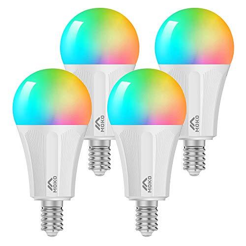 MoKo WLAN Smart Led Lampe, E14 9W Dimmbar Glühbirne Mehrfarbige RGB Licht, Wifi Birne APP-Fernbedienung Sprachsteuerung, Kompatibel mit Alexa Echo Google Home SmartThings, ohne Hub Benötig - 4 Pack