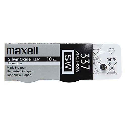 Pilas Maxell 337 SR416SW, 1 paquete con 10 piezas de 1,55