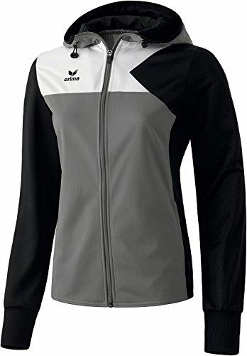 Erima Damen Premium One Training Kapuzenjacke, Grau (Granit/Schwarz/Weiß), 10745, 34